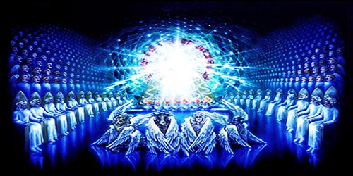24 старца, агнец и 4 животных у престола Бога