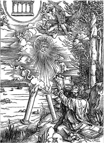 Гравюра А. Дюрера «Святой Иоанн глотает книгу»